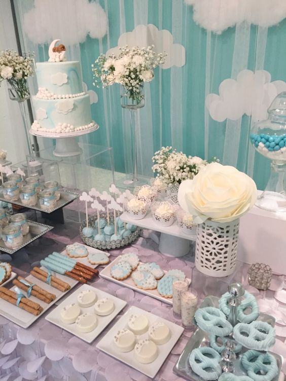 Baby Shower Dessert Table : shower, dessert, table, Shimmering-Heaven-Sent-Baby-Shower-Dessert-Table, Shower, Decorations,, Themes,, Centerpieces