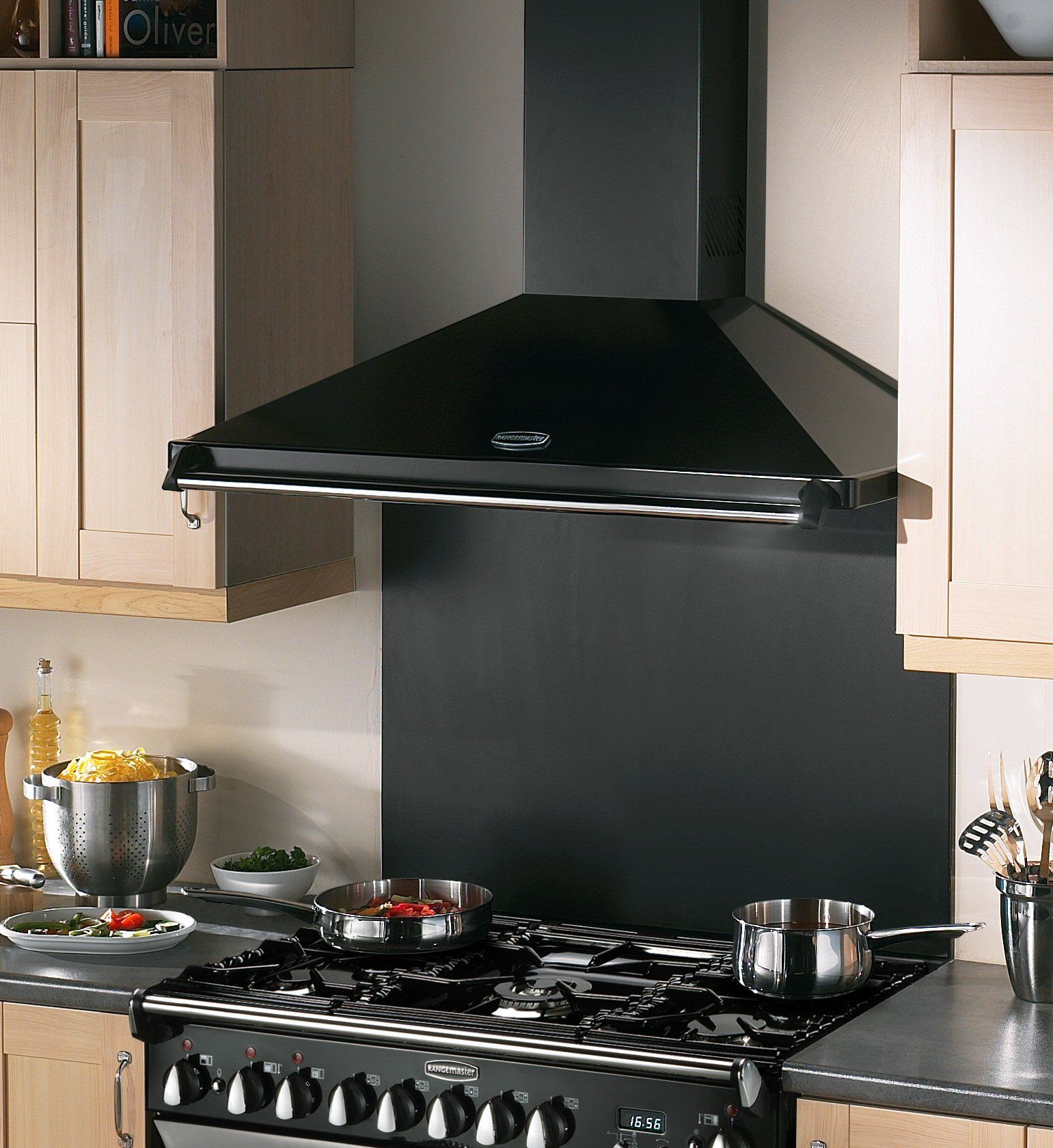 The Chrome And Black Classic Chimney Hood Shows The