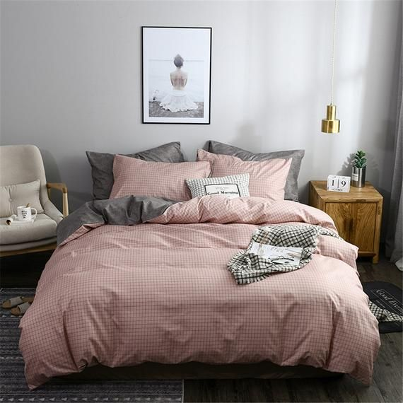 Pink Check Lattice Duvet Cover Reversible Kids Funny Comforter Cover Girls Boys Adult Quilt Cover Be