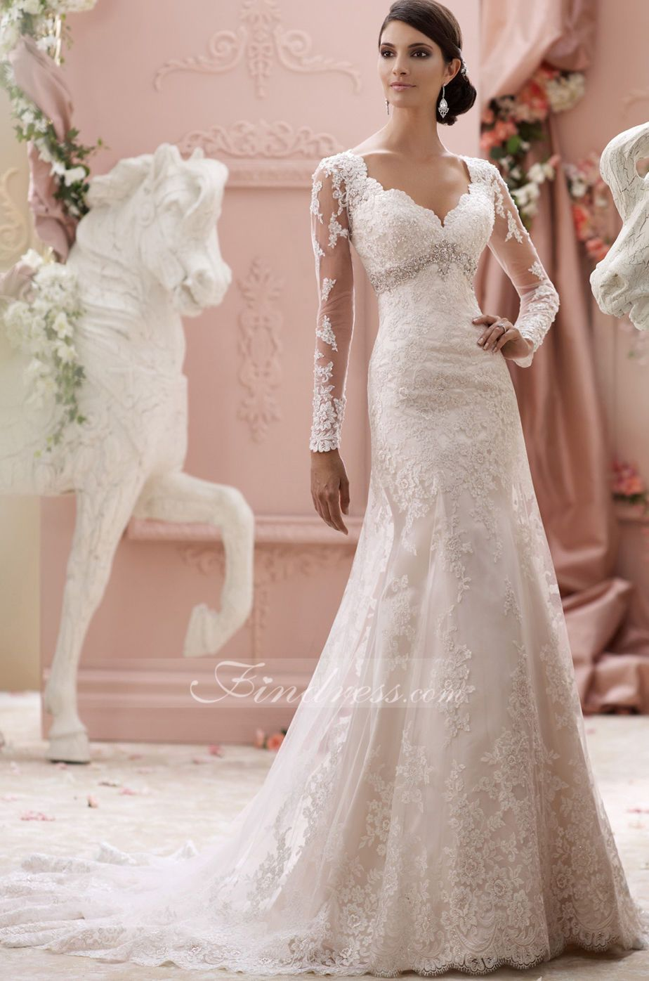 Elegant tulle vneck empire waistline long sleeves aline wedding