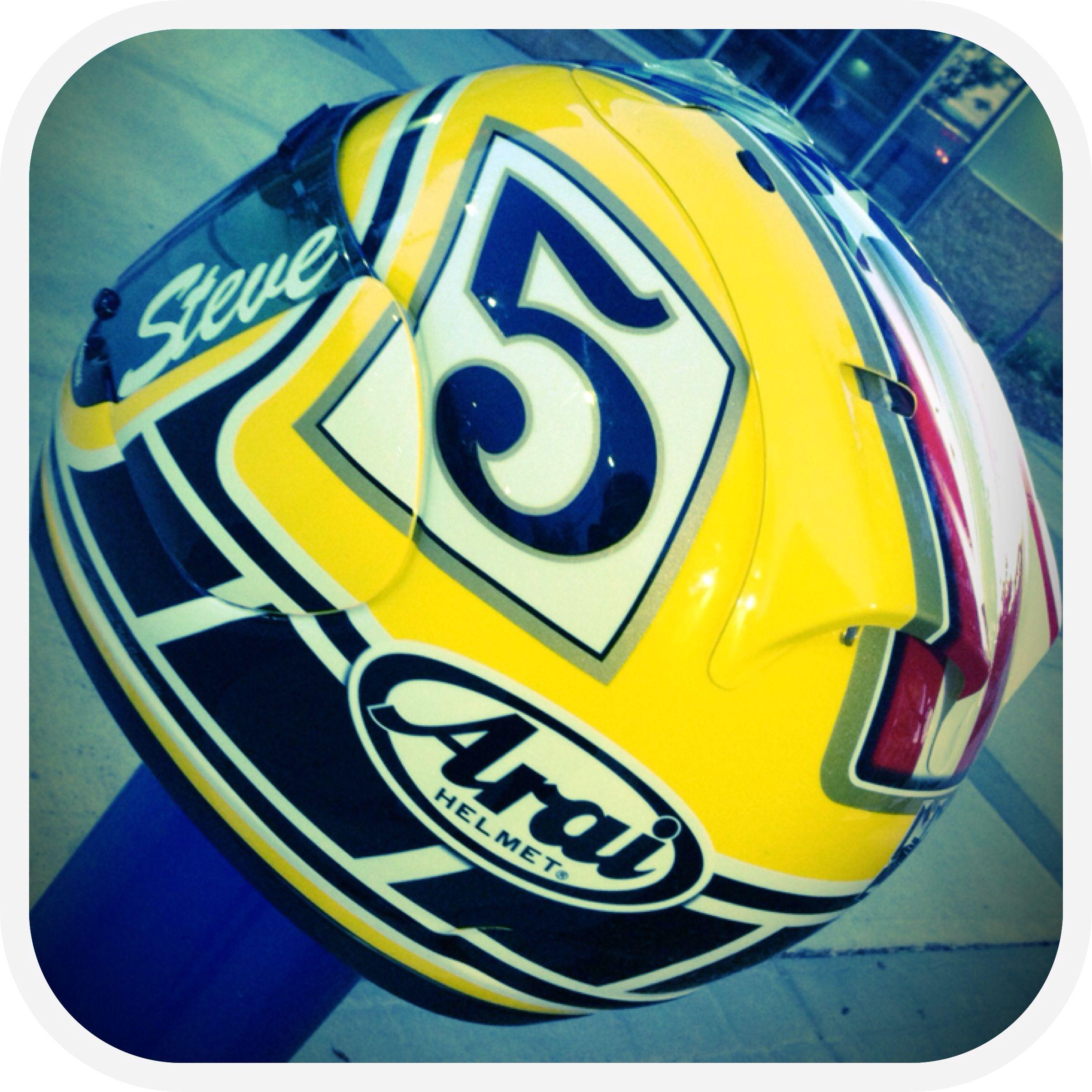 Arai helmet/ yellow & black steve Arai helmets, Crotch