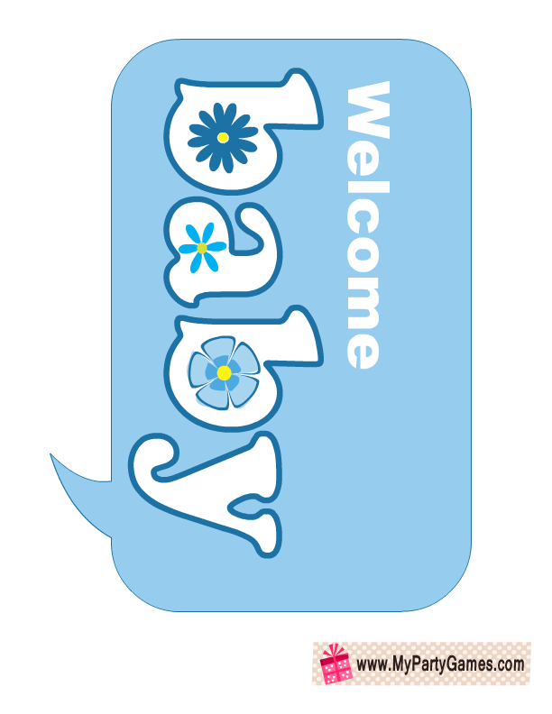 Welcome Baby Baby Shower Photo Booth Prop In Blue Color Kailee S
