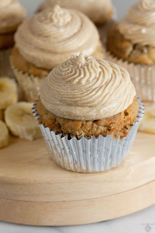 Free Banana Cupcakes with Brown Sugar Buttercream (Dairy Free) via @HealthyDelish