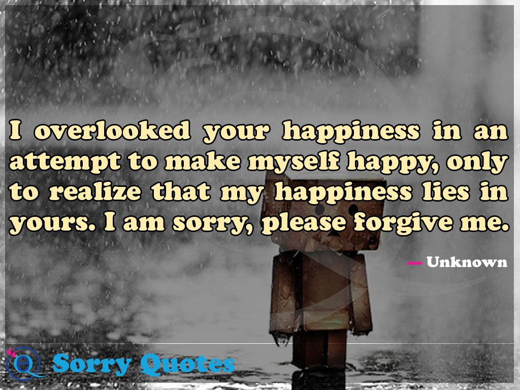 I Overlooked Your Happiness In An Attempt To Make Myself Happy Only To Realize That My Happiness Lies In Yours I Am Sorry Ple Sorry Quotes Quotes I Am Sorry