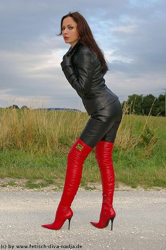 Sexy lady Nadja with lovely red leather thigh high stiletto boots ...