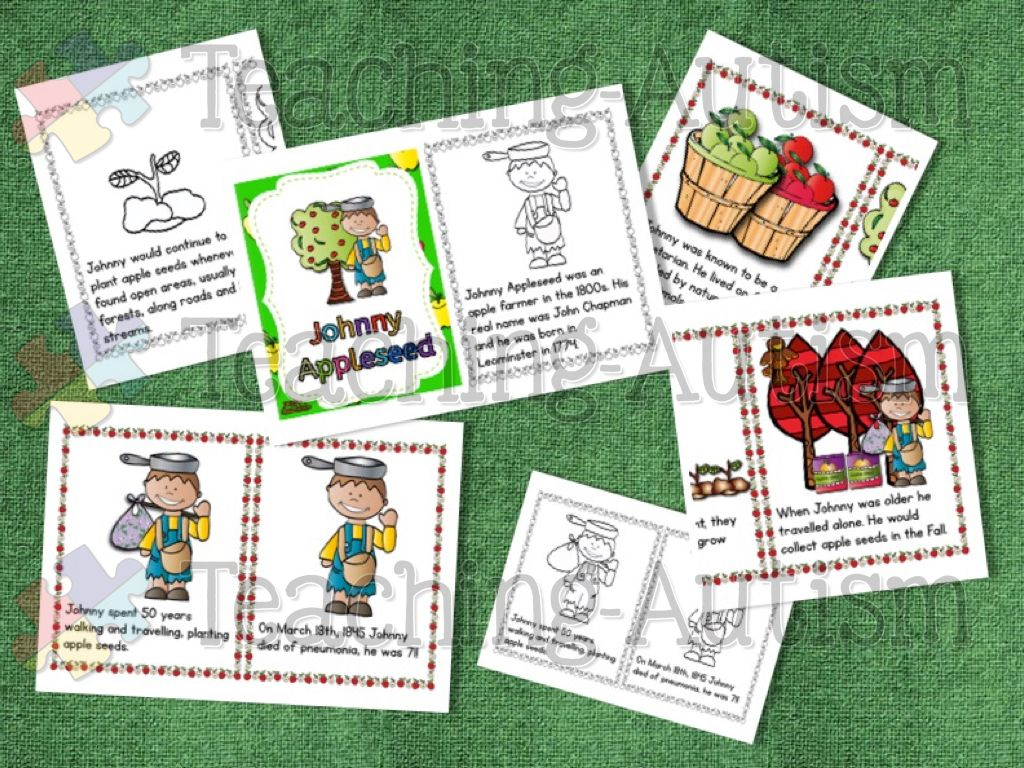 Johnny Appleseed Flashcard Story Bundle With Comprehension Johnny Appleseed Activities Story Bundle Flashcards
