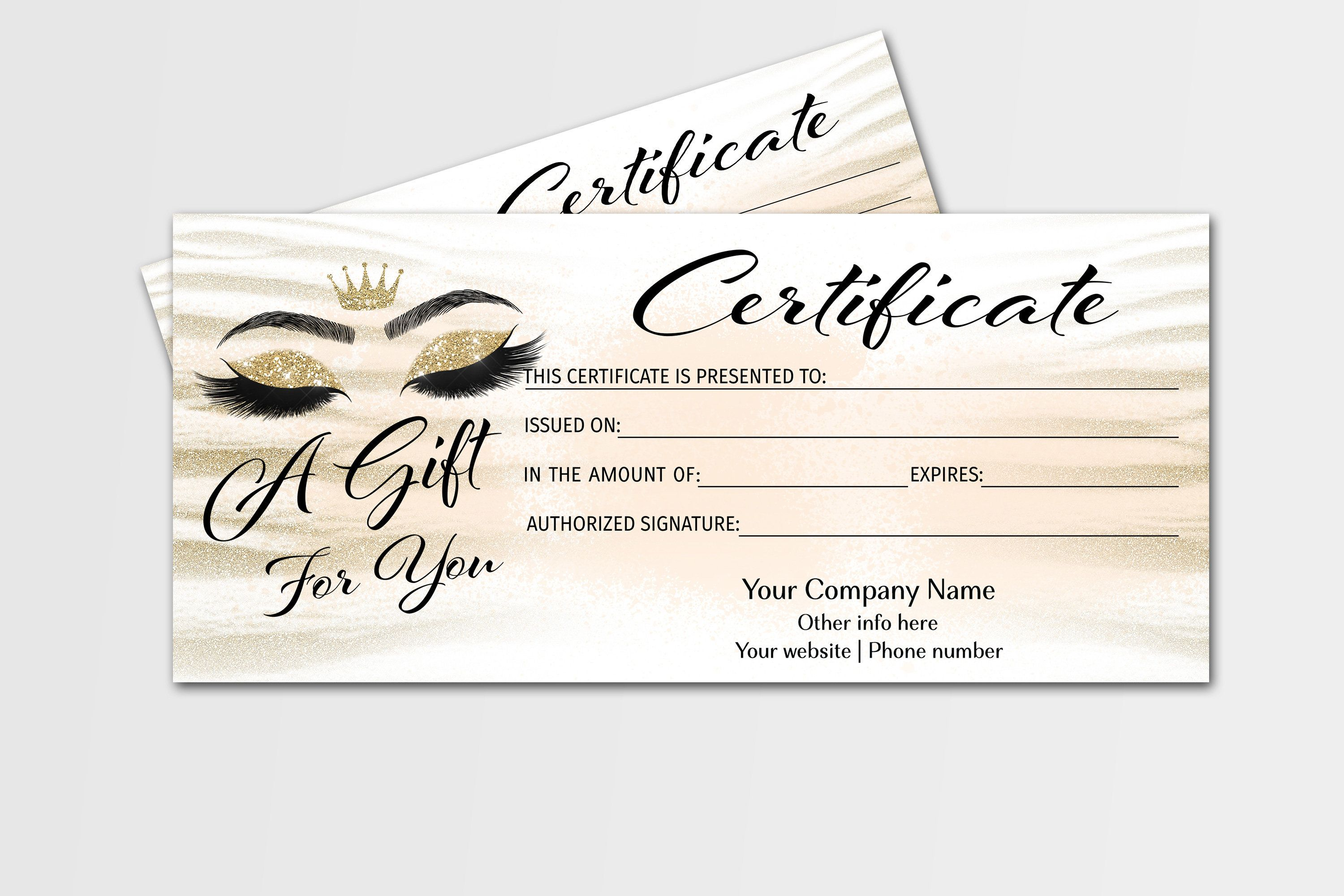 Lashes Gift Certificate Template Printable Gift Certificate Etsy Gift Certificate Template Gift Certificates Printable Gift Certificate
