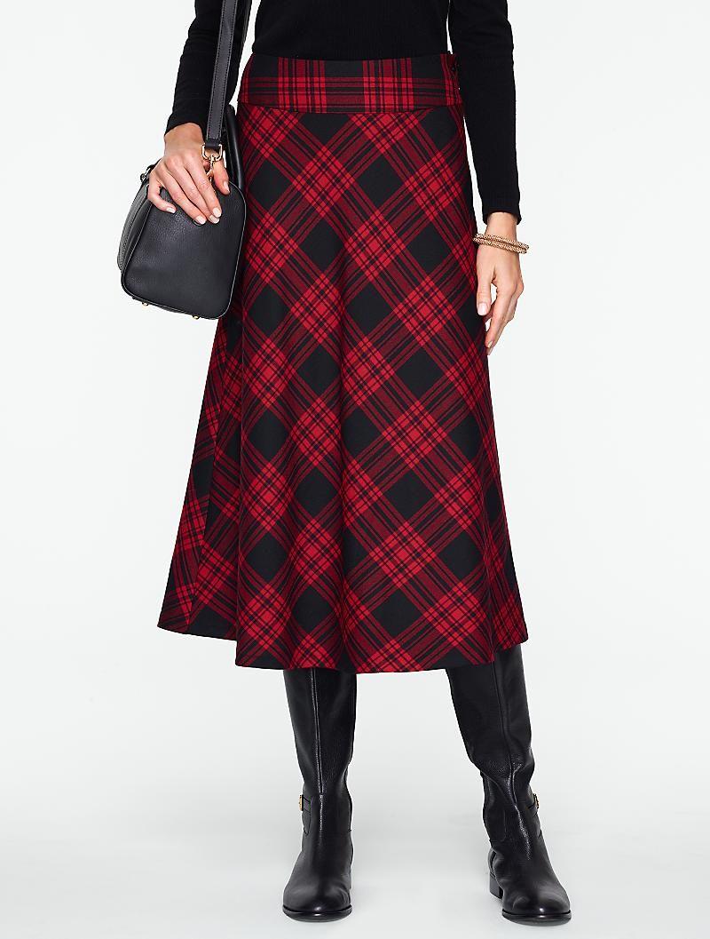 3fd75f24c6 Talbots - Check Tartan Plaid Flannel Riding Skirt