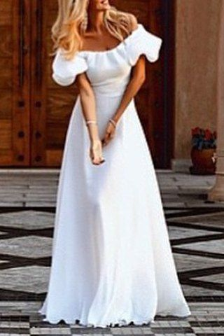 Vintage Off-The-Shoulder Flounce White Maxi Dress For Women ...