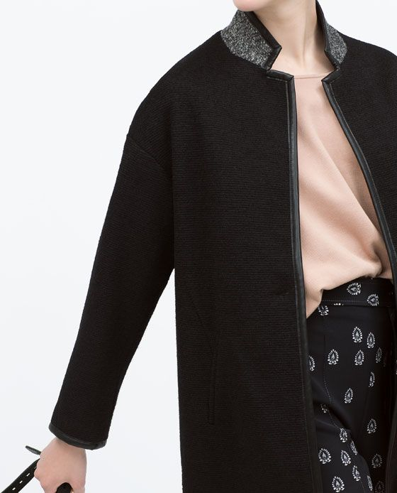 Image 6 of LEATHER EFFECT CONTRAST COLLAR COAT from Zara