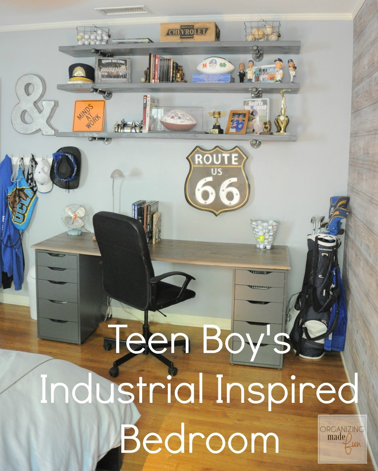 Teen Boy's Room Industrial Shelving :: OrganizingMadeFun