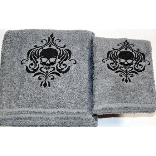 Rose Sugar skull  fingertip TOWEL goth FREE SHIP cute black applique bath