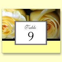 Yellow Roses Wedding Reception Table Number Cards