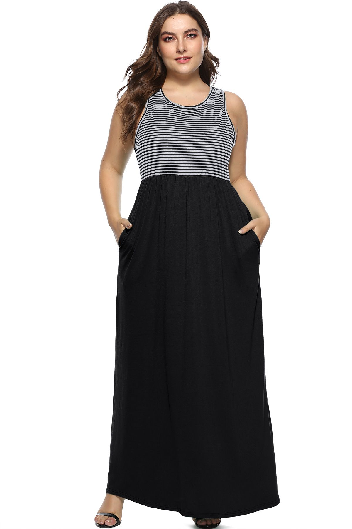 a12cae913a Women s Plus Size Striped Sleeveless Racerback Loose Maxi Dresses Casual Long  Dresses with Pockets