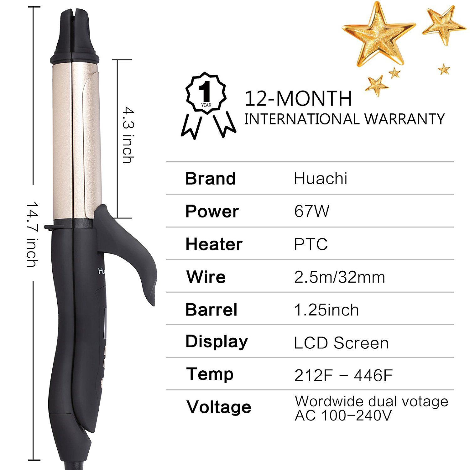 Huachi 2 In 1 Curling Iron Flat Iron 1 1 4 Inch Ceramic Hair Straightener Curling Wand 32mm Auto Shut Off Dual Voltage Gold S002 Ceramic Hair Straightener Hair Care Tips Hair
