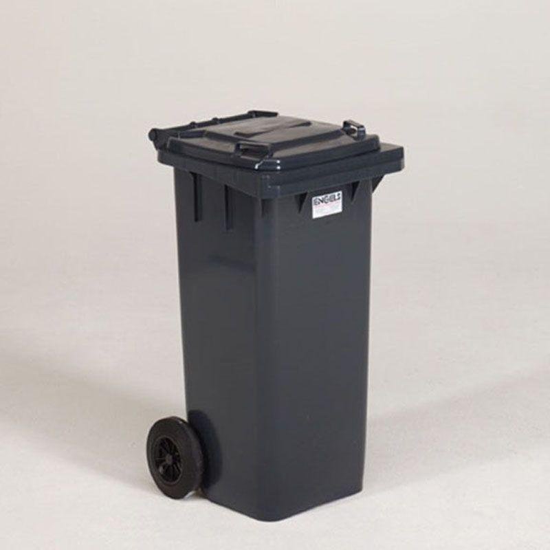 Engels Webshop NL - Container 120 liter, 480x550x940 mm met 2 wielen ø200 mm, zwart met deksel met 2 handgrepen, donkergrijs donkergrijs (MGB 120.700)