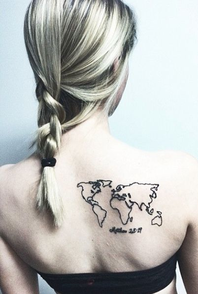 Old World Map Back Tattoo. world map tattoo on back  TAT Pinterest Map tattoos Matthew