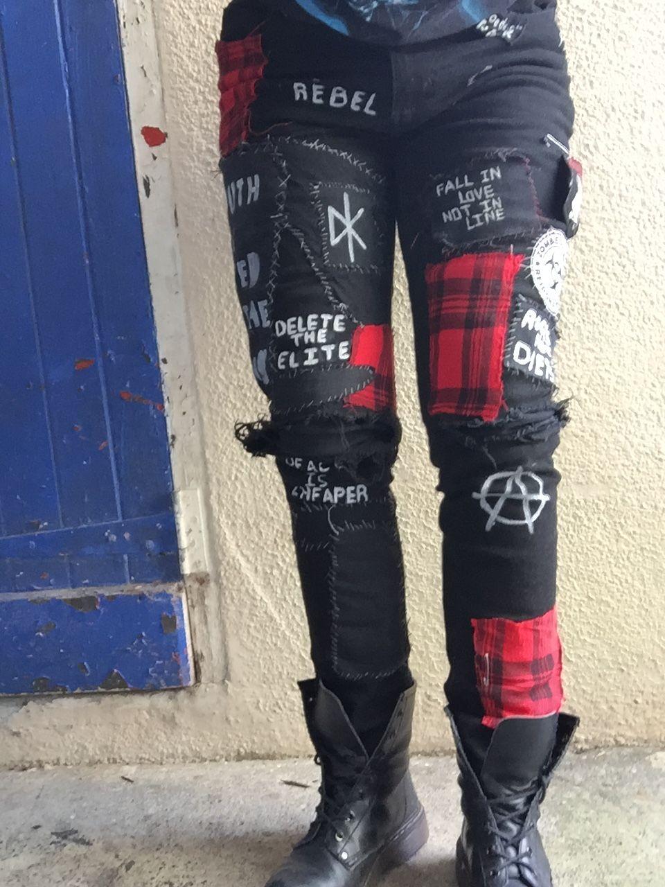 *My Own Work* punk pants in progress//not completed #punk #inspo #punkinspo #crust #crustpunk