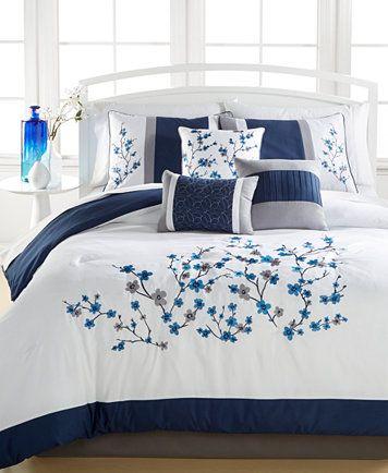 Kira Navy 7 Pc Comforter Sets Only At Macy 39 S Embroidered Macys Com Comforter Sets California King Bedding Sets Designer Bed Sheets King size comforters on sale
