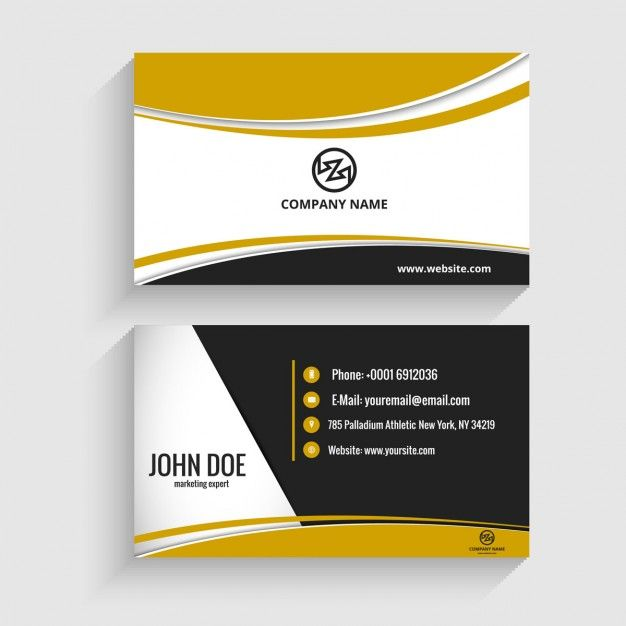 Modern Visiting Card With Wavy Shapes Free Vector Visiting Cards Business Cards Layout Modern Business Cards Design