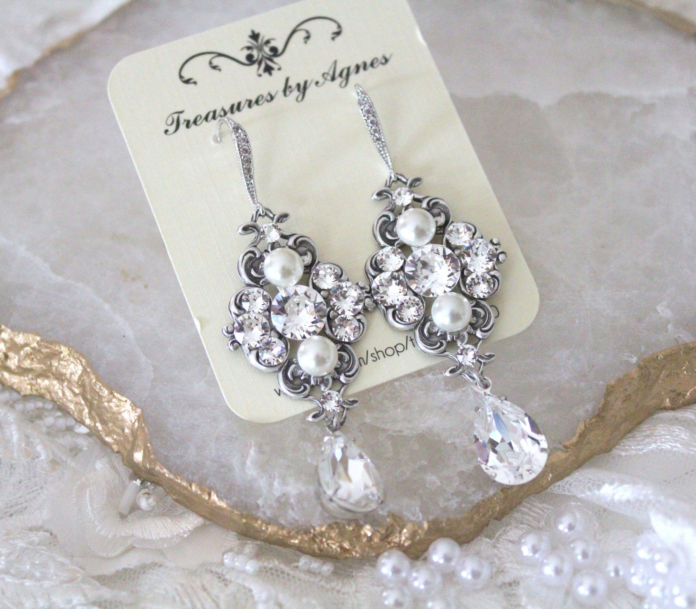Swarovski Wedding Earrings Crystal Bridal Earrings Wedding Jewelry Vintage Style Chandelier Earri Wedding Earrings Drop Bridal Earrings Vintage Wedding Jewelry
