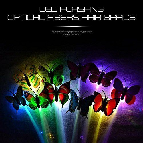16.86$  Buy now - http://vixnl.justgood.pw/vig/item.php?t=h6fccb351266 - ZapFirst 12 PCs Butterfly LED Fiber Optic Hair Multi-color Flash Braid with for