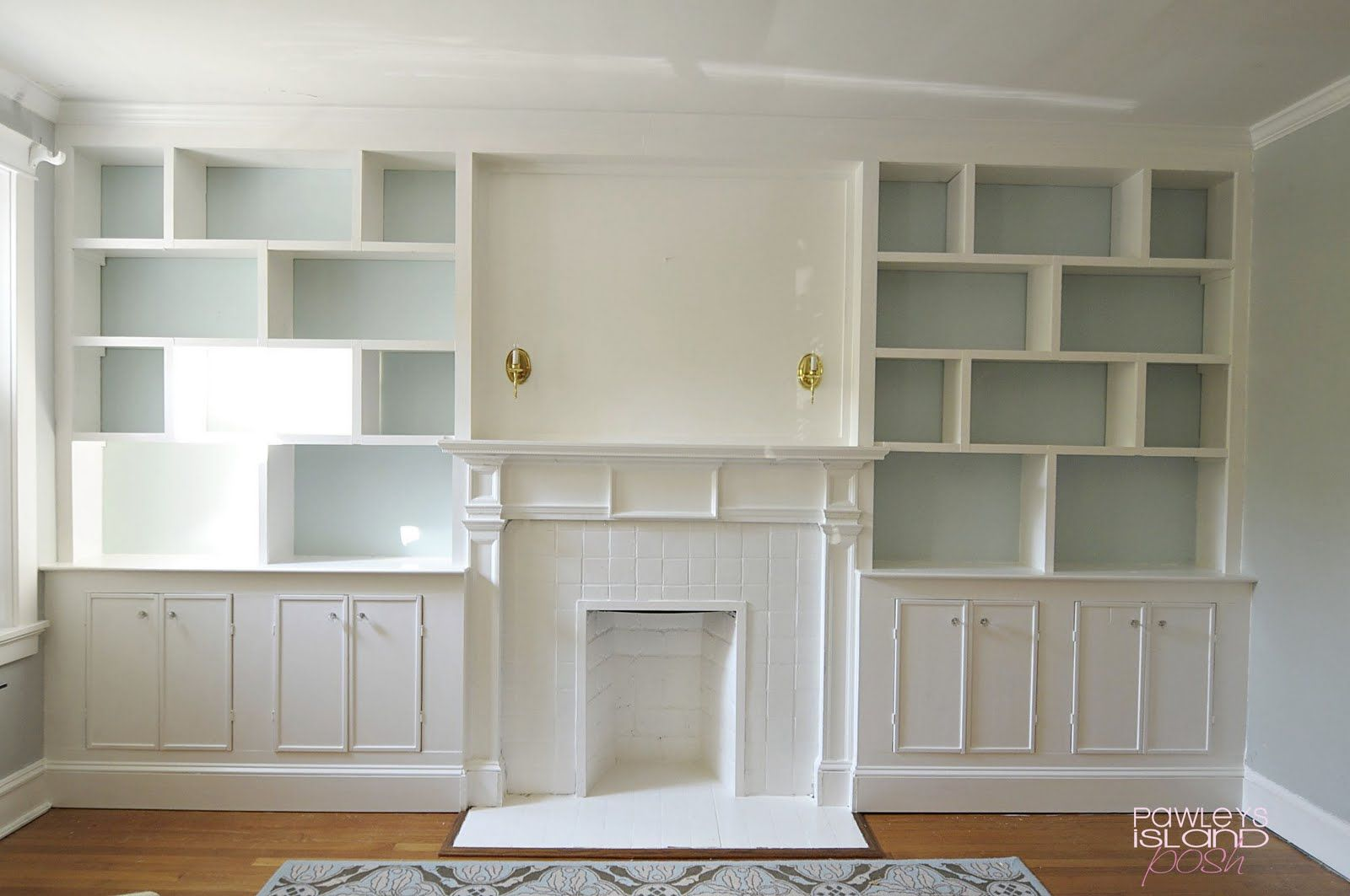 built in bookshelves flanking the fireplace I would like