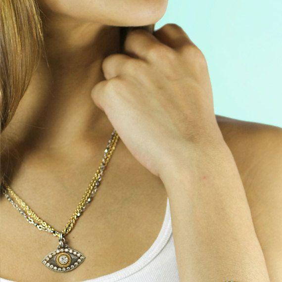 Fashionable Modern Evil Eye Necklace/ от MichalGolanJewelry