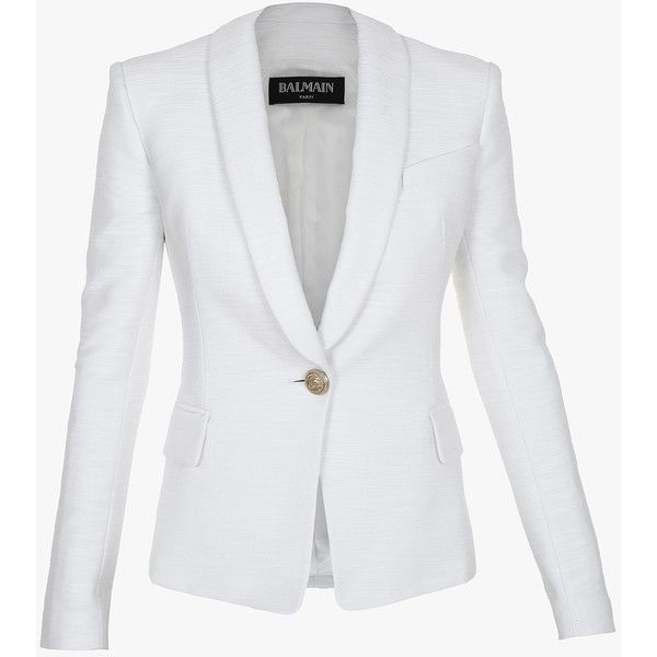 f8d3bcd8 Balmain Cotton blazer ($1,740) ❤ liked on Polyvore featuring outerwear,  jackets, blazers, white blazer, balmain, balmain blazer, cotton jacket and  white ...