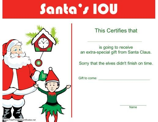 Santas iou gift certificate christmas pinterest gift this christmas iou printable certificate template would be a great way you can use to talk to your kids yadclub Gallery