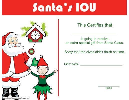 Santa S Iou Gift Certificate Christmas Gift Certificate Template Christmas Gift Certificate Gift Certificate Template