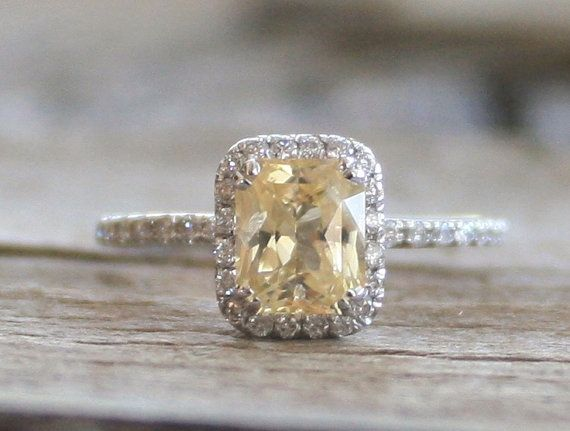 ON HOLD - Radiant Cut Light Yellow Champagne Sapphire Diamond ...