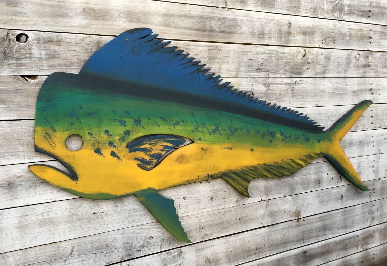Mahi Mahi Fish Wood Large Dolphin Fish Wall Art Porch Decor Etsy Fish Wall Art Outdoor Fishing Decor Nautical Wall Decor