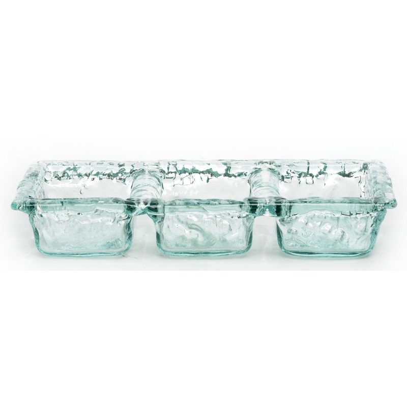 Recycled Bubbled Glass Triple Tray Glass Serving Bowls Glass Tray