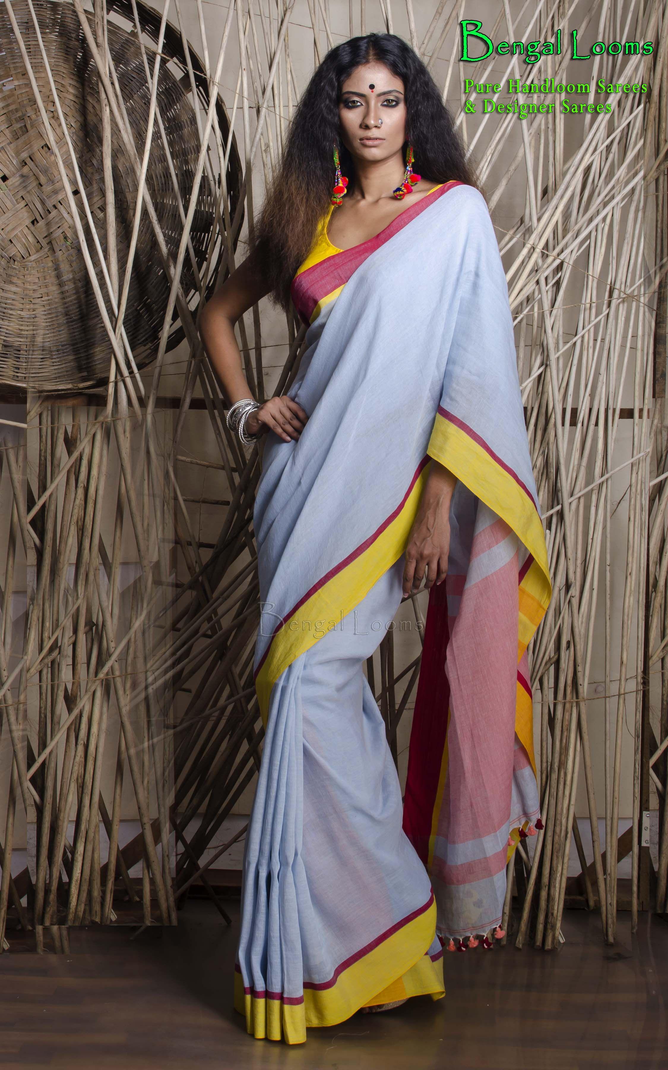 497e9553aa5553 Beautiful Pure Handloom Khadi Linen Cotton Saree in powder Blue in Ganga  Jamuna Border.