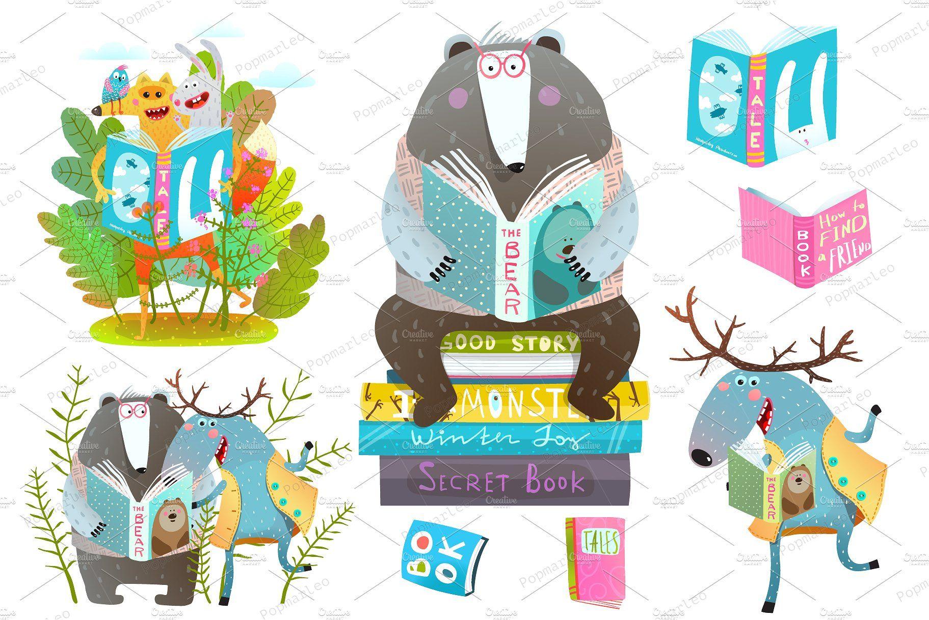 Smart Animals Reading Books Book Clip Art Art Friend Graphic Design Inspiration