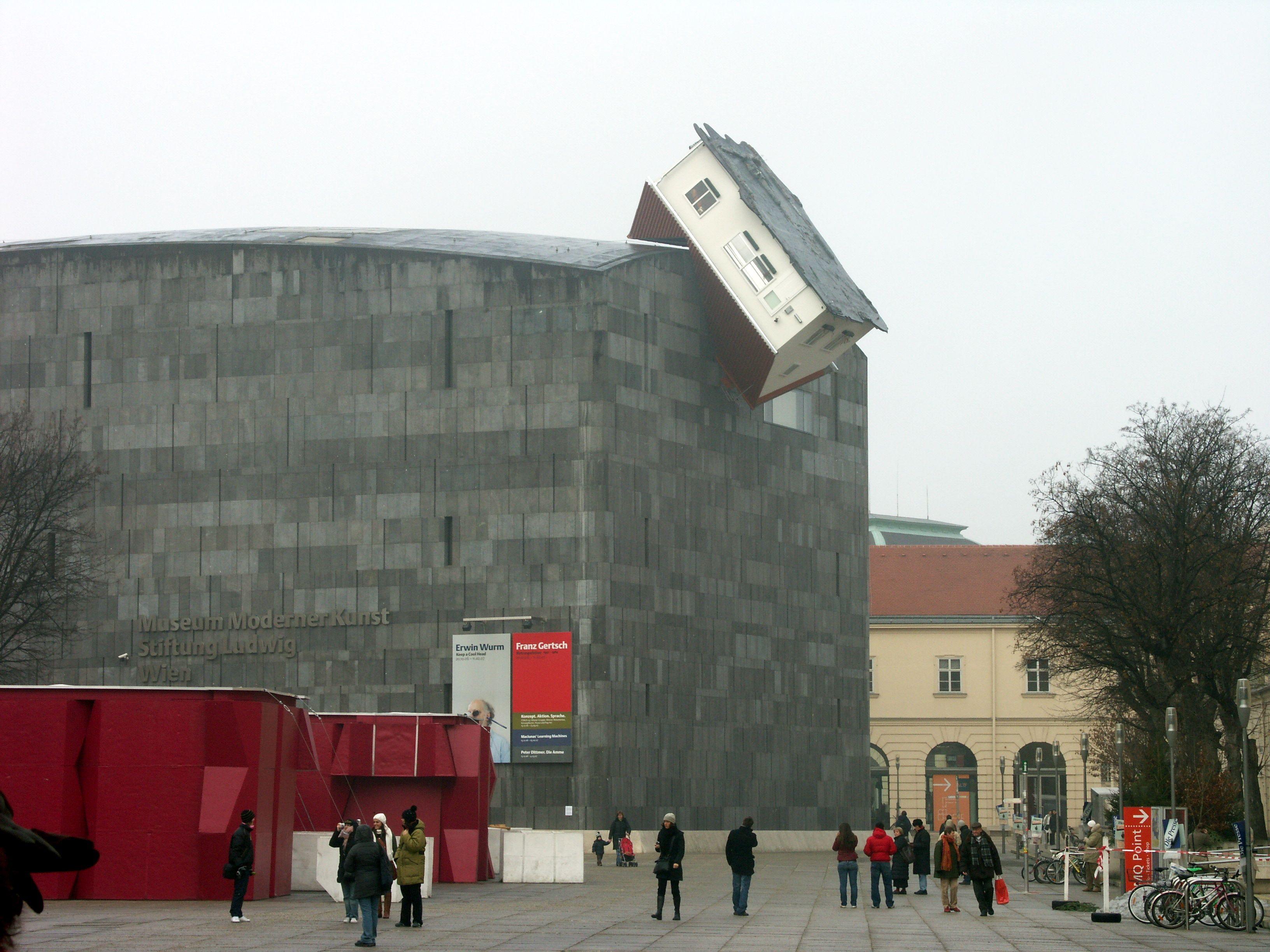 Erwin Wurm Austria B 1954 House Attack 2006 House At The Upper External Side Of The Building Of Museum Moderner Ku Erwin Wurm Conceptual Art Land Art