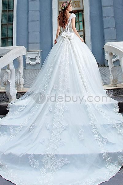 Great A-Line Floor-Length Scoop Beadings Cathedral Train Wedding ...
