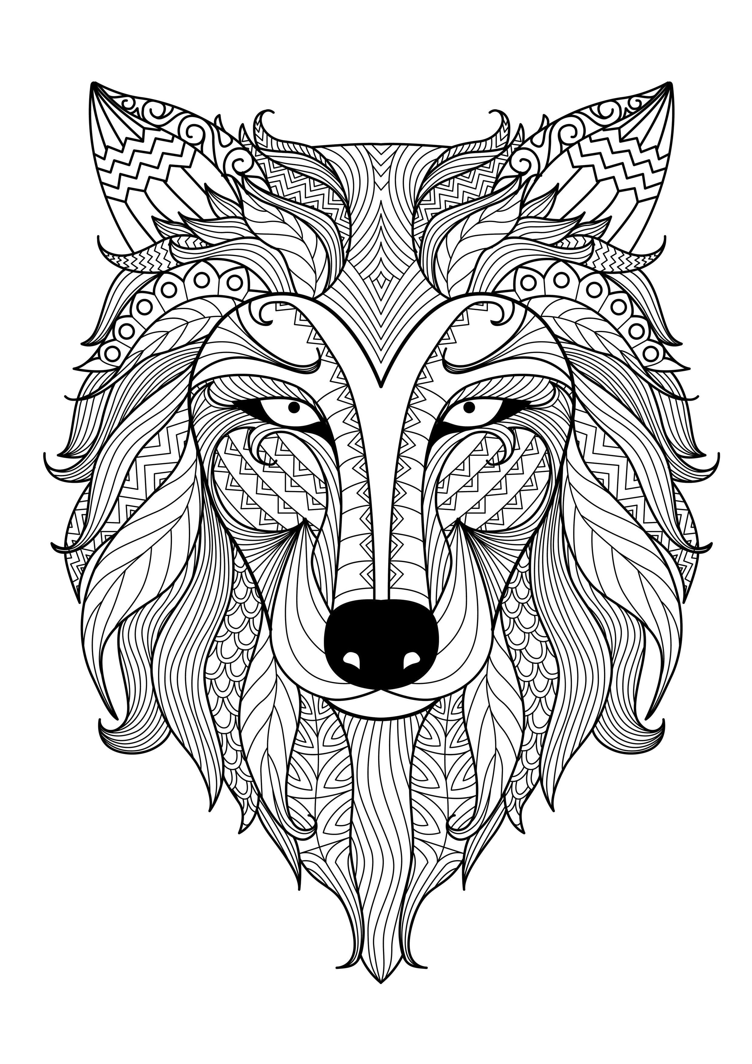 Animal Coloring Pages For Adults Coloriage Loup Coloriage Coloriage Zen
