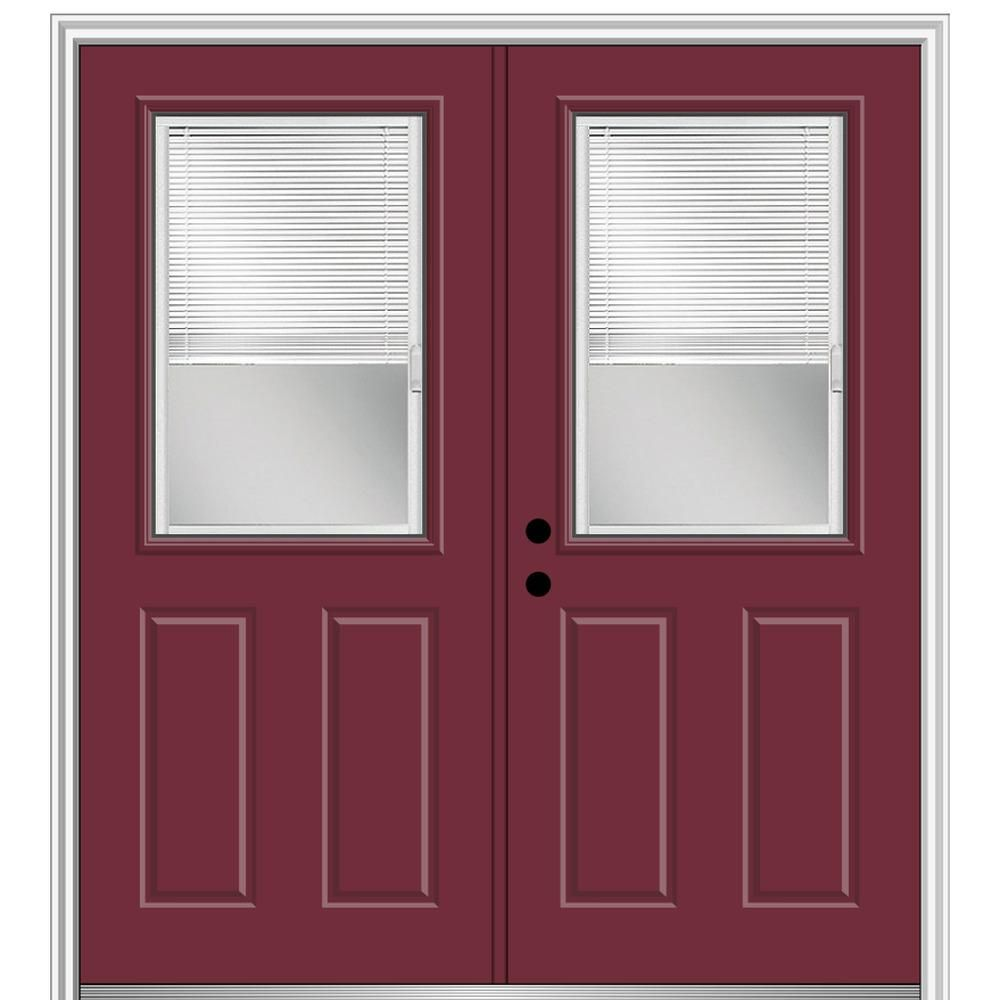 Mmi Door 64 In X 80 In Internal Blinds Right Hand Inswing 1 2 Lite 2 Panel Clear Painted Fiberglass Smooth Prehung Front Door Z004326r Prehung Doors Doors Blinds