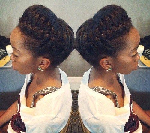 50 Cute Updos For Natural Hair Com Imagens Cabelo Natural
