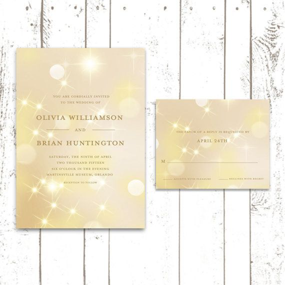 Gold Wedding Invitations Sample Set Bokeh by MooseberryPrintShop - sample wedding guest list