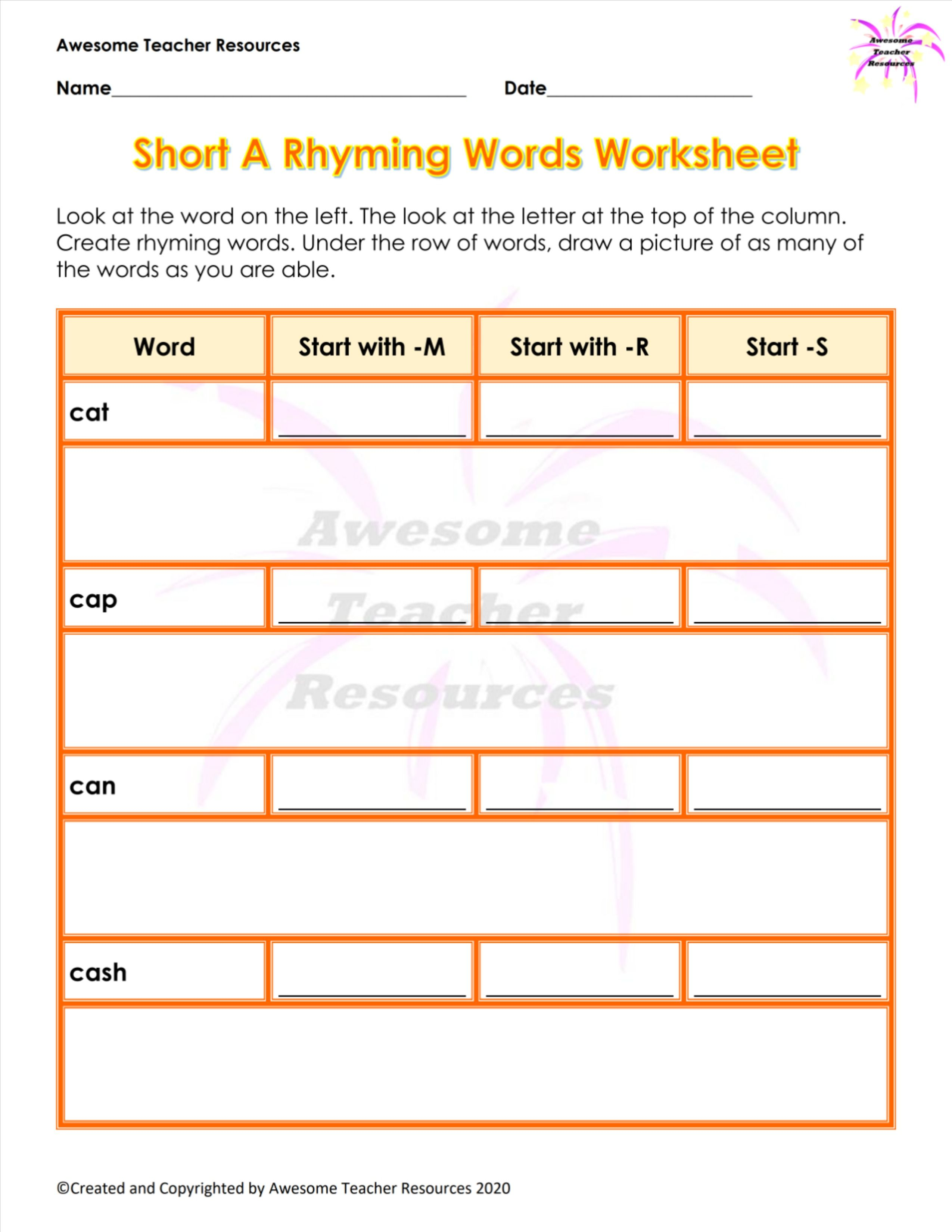 Short A Rhyming Words Worksheet In