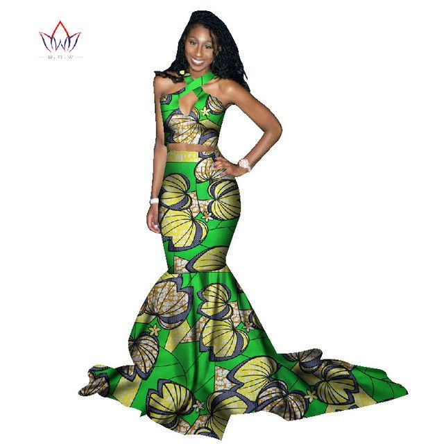 563af88cb97 Binta Real Wax 2 Piece Set Women Sexy African Dresses Long Skirt WY1045