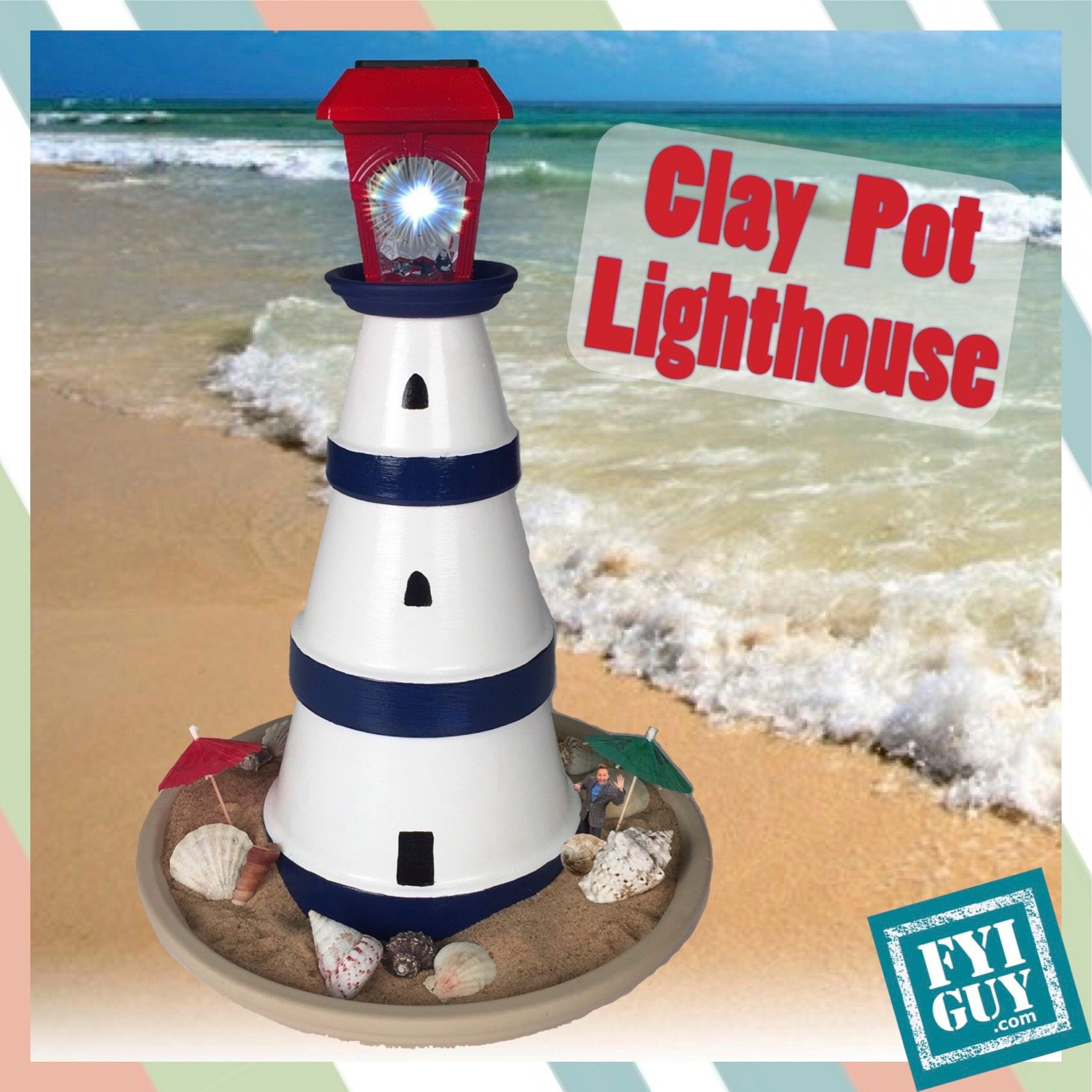 Diy make a clay pot lighthouse diy craft projects - Re Pin And Comment To Win The Clay Pot Lighthouse Www Fyiguy Com