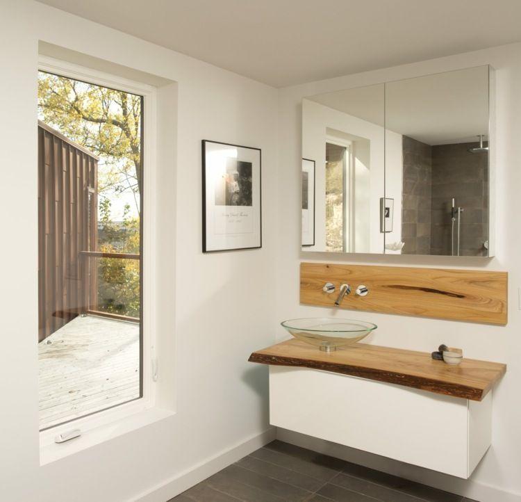 waschtisch aus einer holzplatte auf einem schwebeschrank. Black Bedroom Furniture Sets. Home Design Ideas