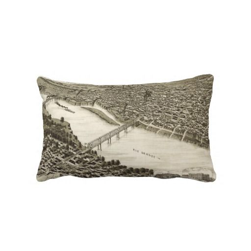 Vintage Pictorial Map of Laredo Texas (1892) Pillow from Zazzle.com $52.00