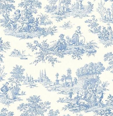 Wallpaper Designer French Country Life Blue And White Toile Toile Wallpaper Blue Wallpapers Toile Pattern
