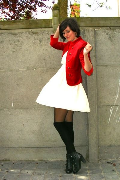 white dress black tights black boots RED jacket. | Couture &amp Co