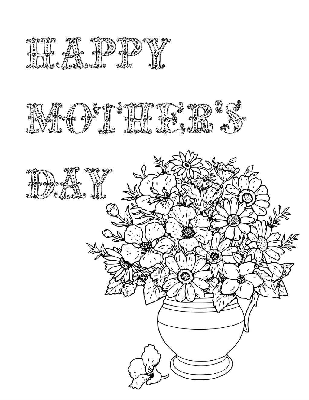 Free Printable Mother's Day Coloring Pages 4 Designs